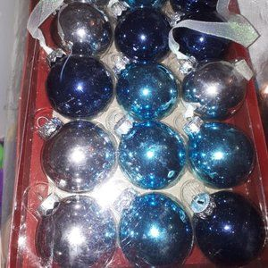 Other - Vintage Silver and Blue Christmas Glass Balls